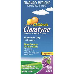 Claratyne Syrup Grape Flavour 1-12Years 60ml