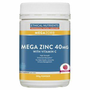 Ethical Nutrients Mega Zinc 40mg Powder with Vitamin C 190g (Raspberry Flavour)