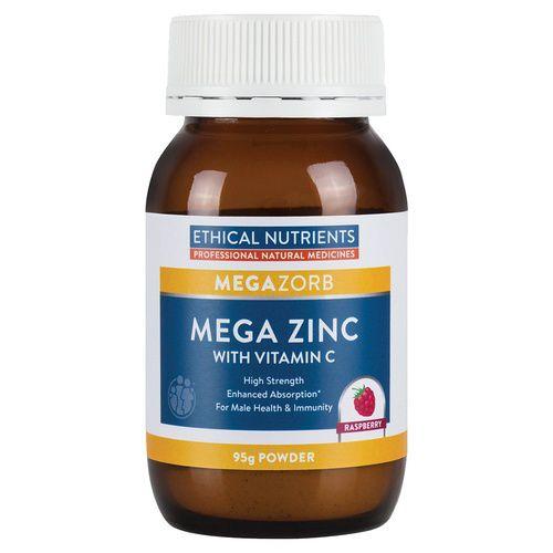 Ethical Nutrients Mega Zinc 40mg Powder with Vitamin C 95g (Raspberry Flavour)