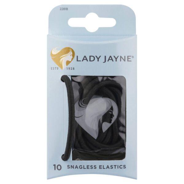 Lady Jayne Black Snagless Thick Elastics – Pk10