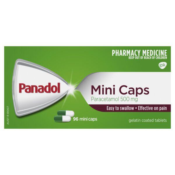 Panadol Mini Caps for Pain Relief, Paracetamol 500 mg, 96 4