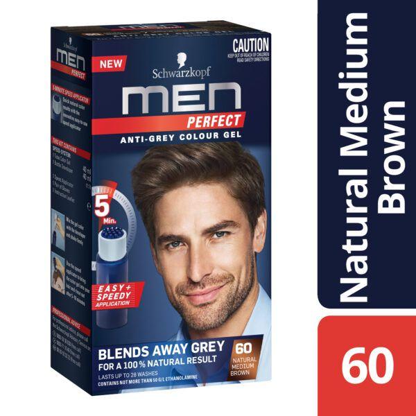 Schwarzkopf Men Perfect Anti-Grey Colour Gel 60 Natural Medium Brown