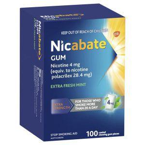 Nicabate Gum Extra Fresh 4mg 100 Pieces