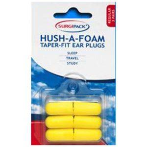 Surgipack Ear Plugs Hush Taper Regular 3 pack