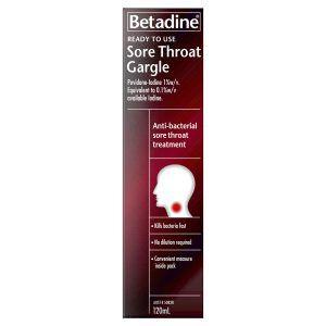 Betadine Ready to Use Sore Throat Gargle 120ml